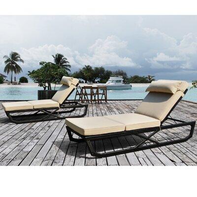 Largo Chaise Lounge with Cushion (Set of 2)
