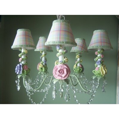 Climbing Rose Trellis 5 Light Chandelier