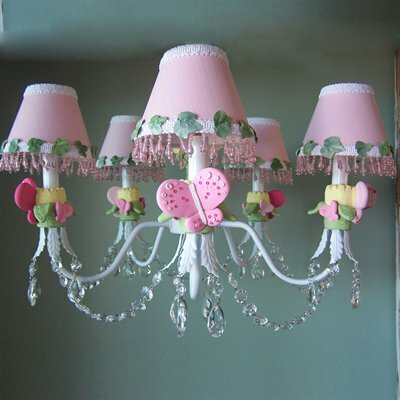 Pink Flutter Butterfly 5 Light Chandelier