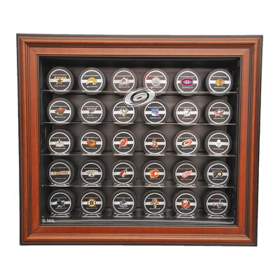 Caseworks International NHL Thirty Puck Cabinet Style Display Case in Brown