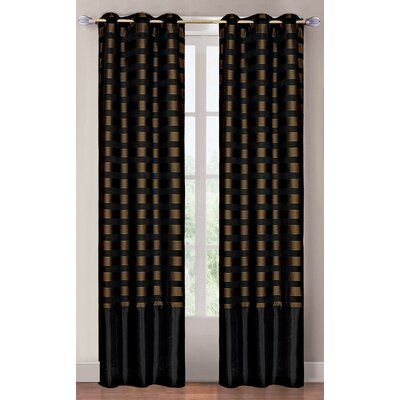 Lavish Home Black and Brass Grommet Curtain Panel  (Set of 2)