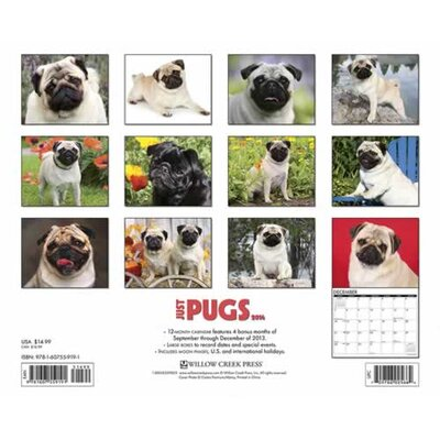 Willow Creek Press Pugs 2014 Wall Calendar