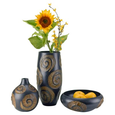 3 Piece Swirl Vase and Bowl Set