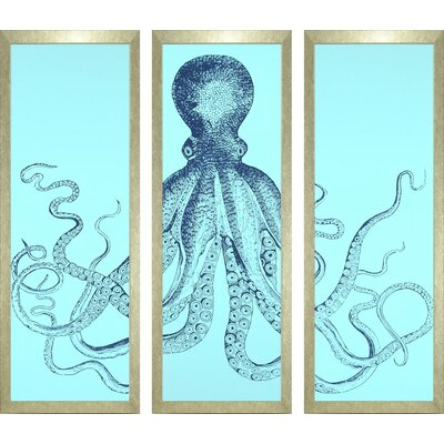 Seaside Living Octopus Triptych Framed Wall Art Set
