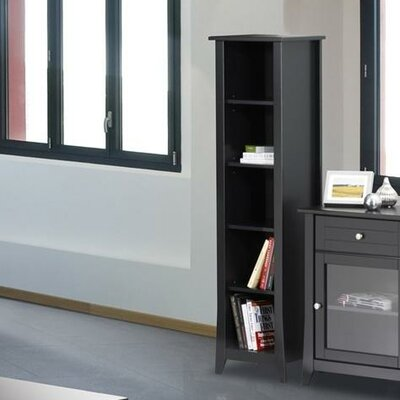 Tuxedo Slim Bookcase in Black Lacquer
