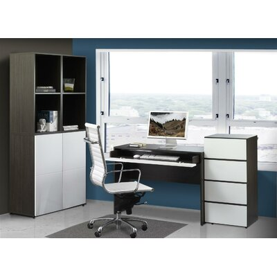 """Nexera Allure 36"""" Storage Cabinet in White and Ebony with 3 Drawers"""