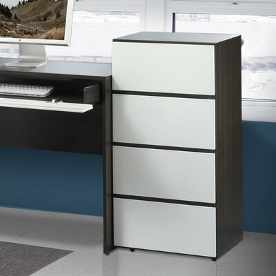 "Nexera Allure 36"" Storage Cabinet in White and Ebony with 3 Drawers"