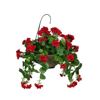House of silk flowers artificial geranium hanging plant in Hanging basket flowers