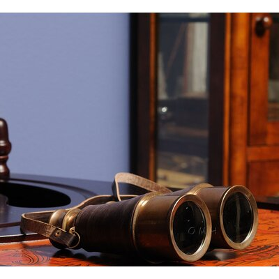 Old Modern Handicrafts Binocular with Leather Overlay in Wood Box