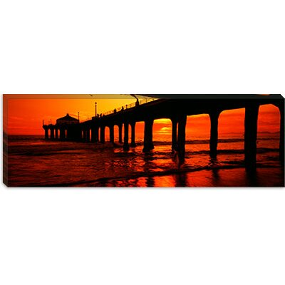 iCanvasArt Manhattan Beach Pier, Manhattan Beach, Los Angeles County, California Canvas Wall Art