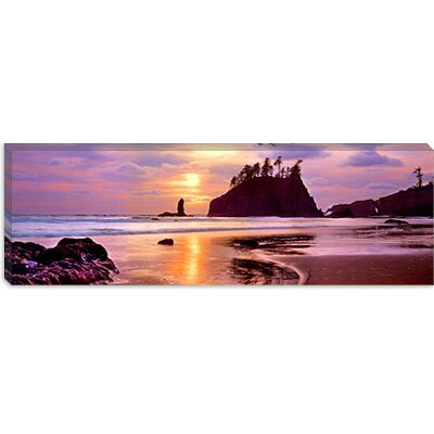 iCanvasArt Silhouette of Sea Stacks at Sunset, Second Beach, Olympic National Park, Washington ...