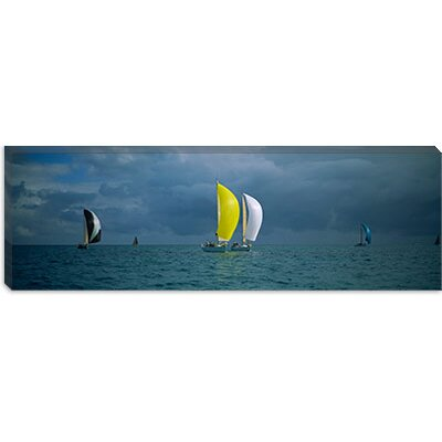 iCanvasArt Sailboat Racing in the Ocean, Key West, Florida Canvas Wall Art