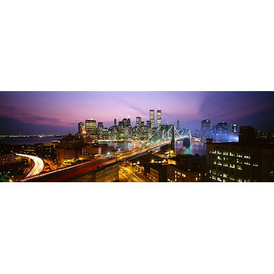 iCanvasArt Panoramic Buildings Lit up at Night World Trade Center New York Photographic Print on Canvas