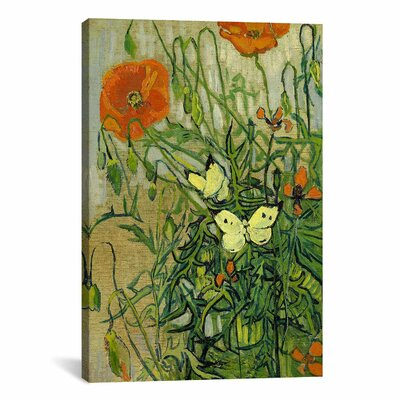 iCanvasArt 'Butterflies and Poppies' by Vincent van Gogh Painting Print on Canvas