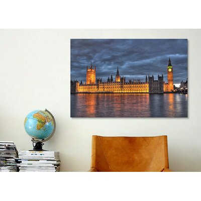 iCanvasArt Political British Parliament and Big Ben Clock Tower Photographic Print on Canvas