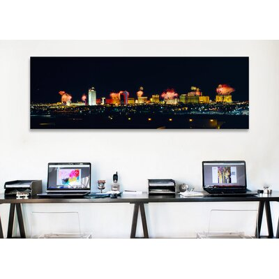 iCanvasArt Panoramic Buildings Lit up at Night Las Vegas, Nevada Photographic Print on Canvas