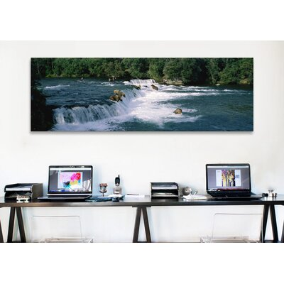 iCanvasArt Panoramic Bears Fish Brooks Fall Katmai AK Photographic Print on Canvas