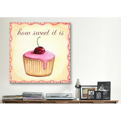 "iCanvasArt ""Cherry Cupcake"" Canvas Wall Art by Jennifer Nilson"