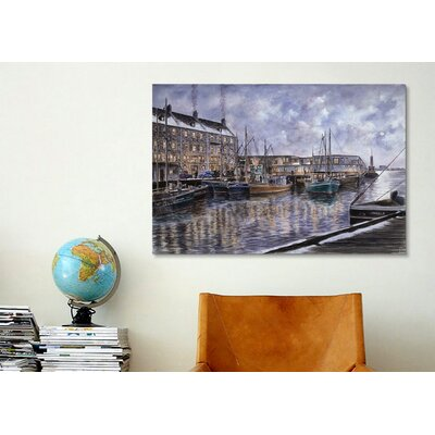 iCanvasArt 'Boston: The Commercial Wharf' by Stanton Manolakas Painting Print on Canvas