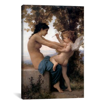 iCanvasArt 'A Young Girl Defending Herself Against Eros' by William-Adolphe Bouguereau Painting Print on Canvas