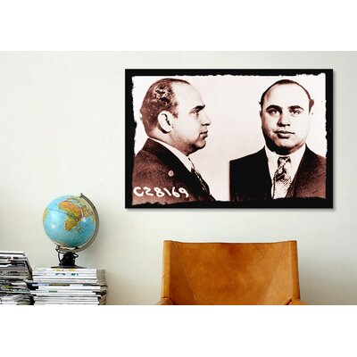 iCanvasArt Alphonse Gabriel Al Capone Mugshot 2 - Chicago Gangster Outlaw Painting Print on Canvas