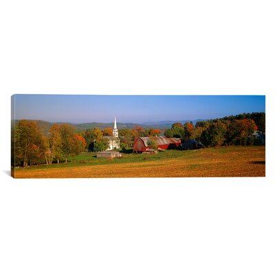 iCanvasArt Panoramic Church and a Barn in a Field, Peacham, Vermont Photographic Print on Canvas