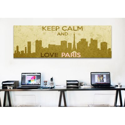 iCanvasArt Keep Calm and Love Paris Textual Art on Canvas