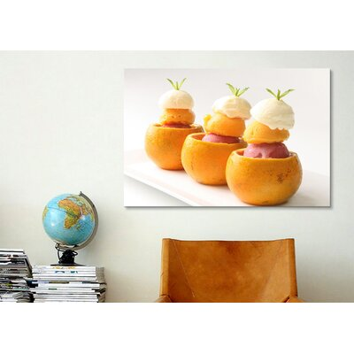 iCanvasArt Ice Cream Balls Inside Oranges Photographic Canvas Wall Art
