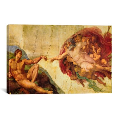 iCanvasArt 'Creation of Adam' by Michelangelo Painting Print on Canvas