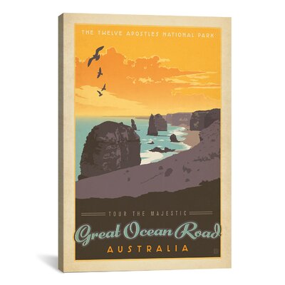 iCanvasArt 'Great Ocean Road, Australia' by Anderson Design Group Vintage Advertisement on Canvas