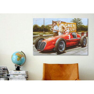 iCanvasArt Cars and Motorcycles Red Masarati Vintage Drawing Painting Print on Canvas
