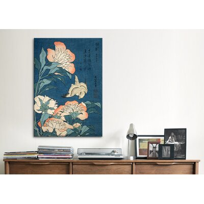iCanvasArt 'Peonies and Canary' by Katsushika Hokusai Painting Print on Canvas