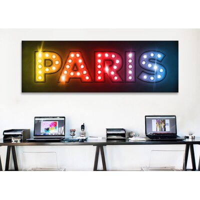iCanvasArt 'Paris by Michael Tompsett Textual Art on Canvas