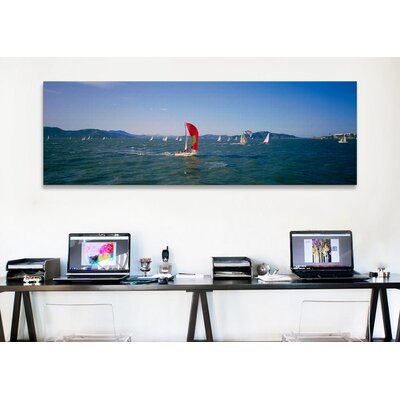 iCanvasArt Panoramic Sailboats in the Water San Francisco Bay, California Photographic Print on Canvas