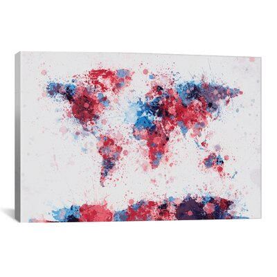 iCanvasArt 'World Map Paint Drops V' by Michael Tompsett Painting Print on Canvas