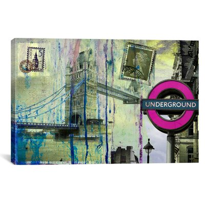 "iCanvasArt ""London Underground"" Painting Print on Canvas by Luz Graphics"