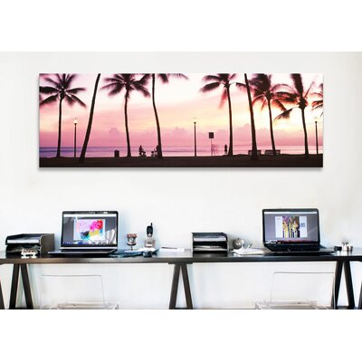 iCanvasArt Panoramic 'Palm Trees on the Beach, Waikiki, Oahu, Hawaii' Photographic Print on Canvas