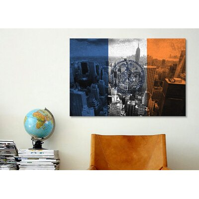 iCanvasArt Flags New York City Empire State Building Graphic Art on Canvas