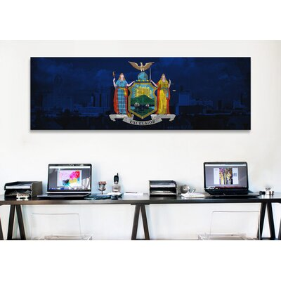 iCanvasArt Flags New York Skyline Graphic Art on Canvas