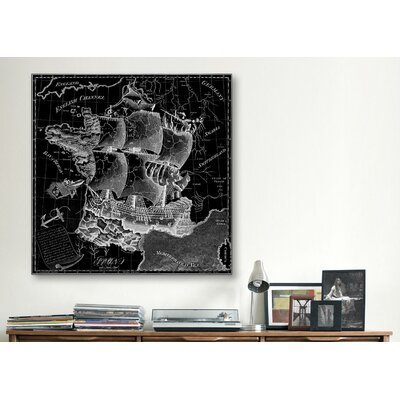 iCanvasArt Antique Map of France (1796) Graphic Art on Canvas in Black
