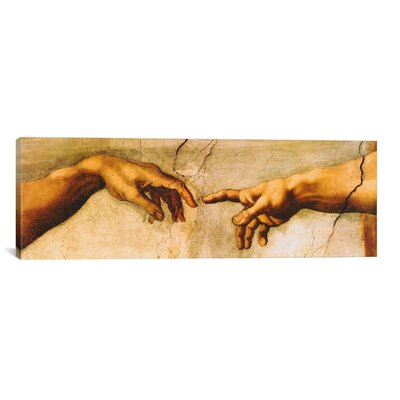 iCanvasArt 'The Creation of Adam Panoramic' by Michelangelo Painting Print on Canvas