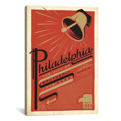 iCanvasArt 'The City of Brotherly Love - Philadelphia, Pennsylvania' by Anderson Design Group Vintage Advertisement on Canvas