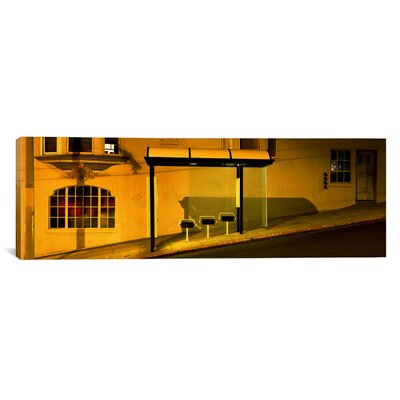 iCanvasArt Panoramic California, San Francisco, Bus Stop at Night Photographic Print on Canvas
