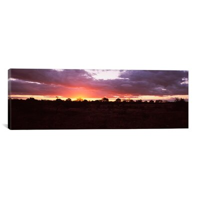 iCanvasArt Panoramic Sunset over the Savannah Plains, Kruger National Park, South Africa Photographic Print on Canvas
