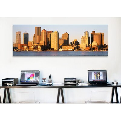 iCanvasArt Panoramic Sunrise, Skyline, Boston, Massachusetts Photographic Print on Canvas