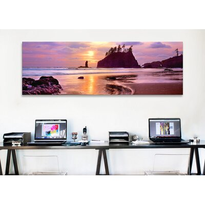 iCanvasArt Panoramic Silhouette of Sea Stacks at Sunset, Second Beach, Olympic National Park, Washington State Photographic Print on Canvas