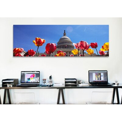 iCanvasArt Panoramic Tulips with a Government Building in The Background, Capitol Building, Washington DC Photographic Print on Canvas