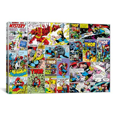 iCanvasArt Marvel Comics Book Thor on Covers and Panels Graphic Art on Canvas