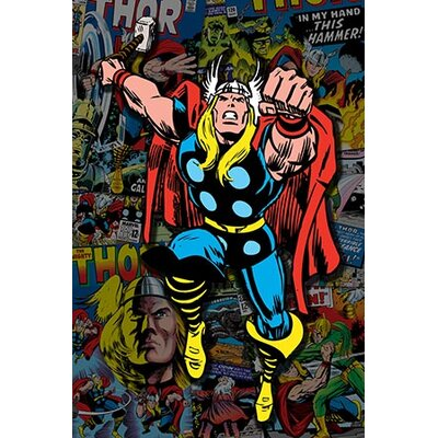 iCanvasArt Marvel Comics Thor Covers Collage #2 Graphic Art on Canvas