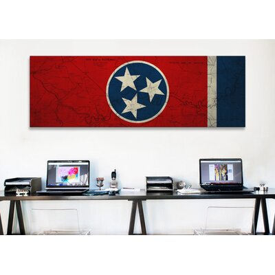 iCanvasArt Flags Tennessee Map Panoramic Graphic Art on Canvas